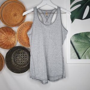 Lucy Gray Heathered Workout Racerback Tank Yoga M